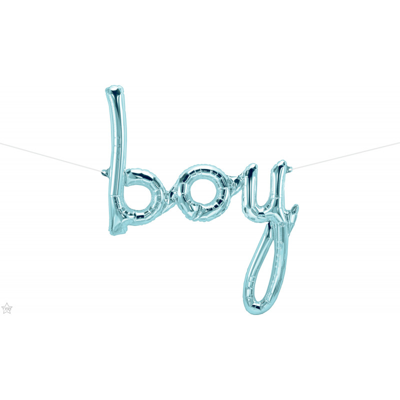 Boy pastelno moder napis folija balon