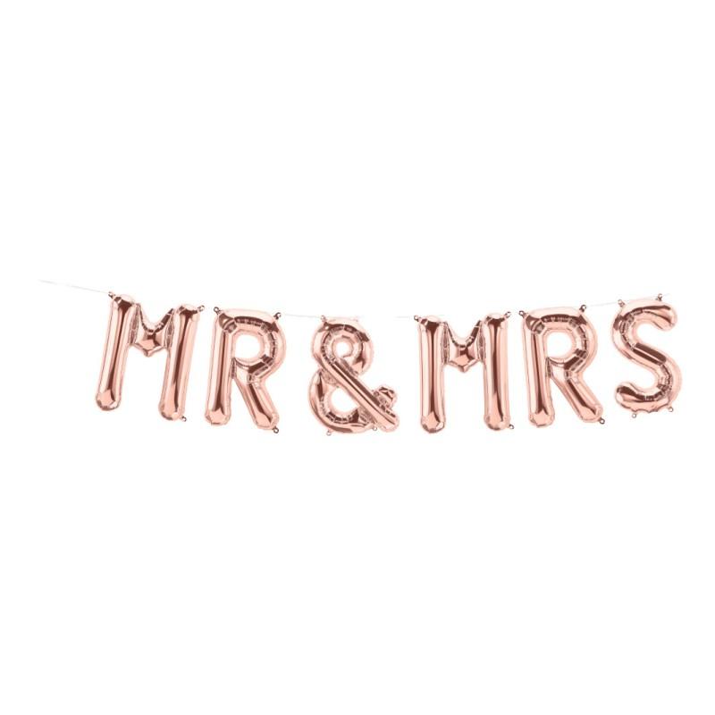 Mr & Mrs rose gold napis folija balon