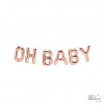 Oh Baby Foil Balloon - rose gold