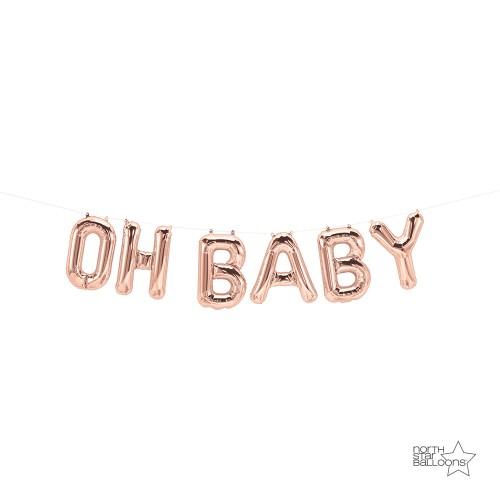 Oh Baby rose zlatni natpis folija balon