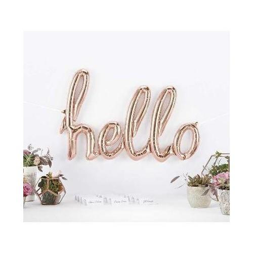 Hello Foil Balloon - rose gold