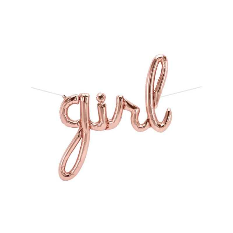Girl Foil Balloon - rose gold