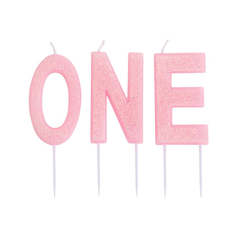 Glitter Candle Pink - ONE