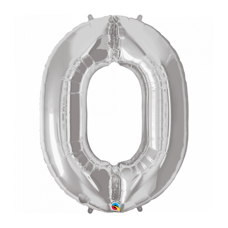 Foil Balloon - Silver Number 0