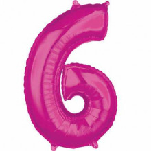 Foil balloon - pink number 6