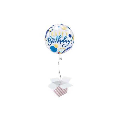 BDay Blue & Gold dots - b.balloon in a package