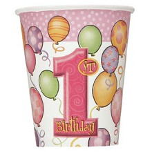 First birthday pink cups