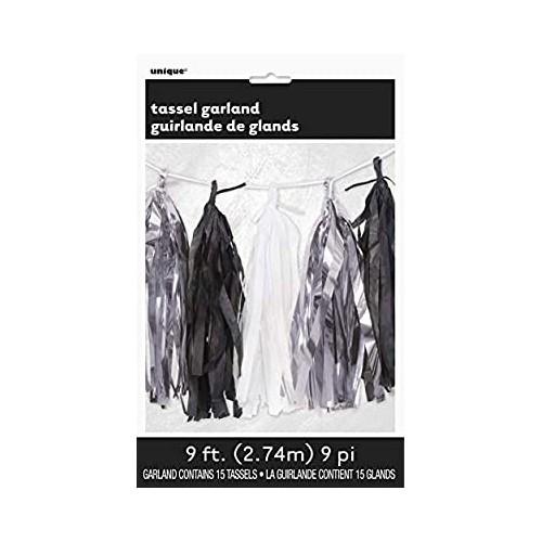 Tassel girland - silver, black white
