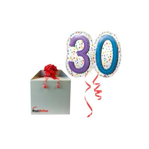 30 Rainbow Confetti Super shape- foil balloon in a package