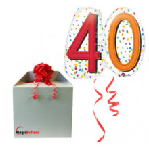 40 Rainbow Confetti Super shape- foil balloon in a package