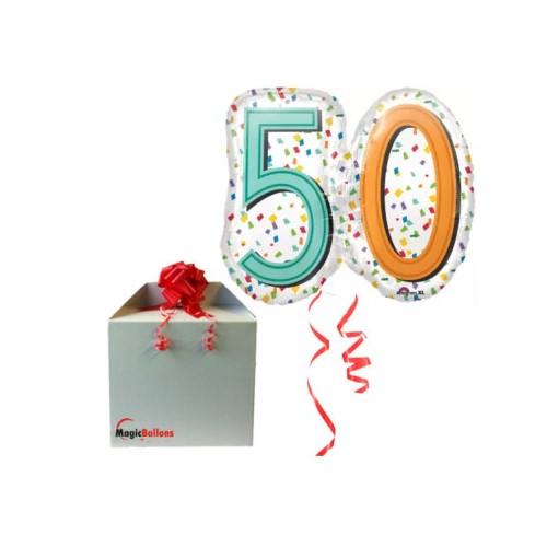 50 Rainbow Confetti Super shape - folija balon u paketu