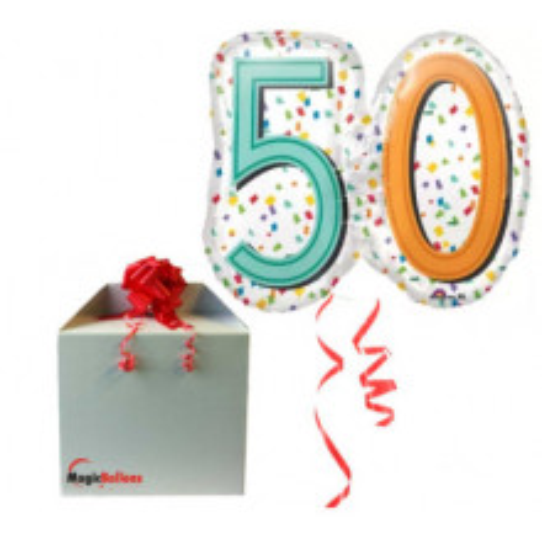 50 Rainbow Confetti Super shape - Folienballon in Paket