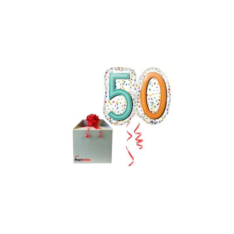 50 Rainbow Confetti Super shape- foil balloon in a package