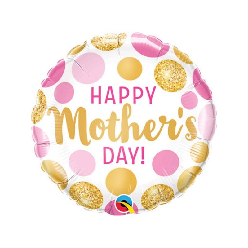 Happy Mothers day pink&gold dots - folija balon