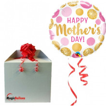Happy Mothers day pink&gold dots - Folienballon In Paket