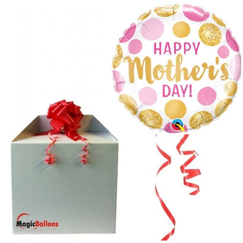 Happy Mothers day pink&gold dots - folija balon u paketu