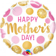 Happy Mothers day pink&gold dots - foil balloon