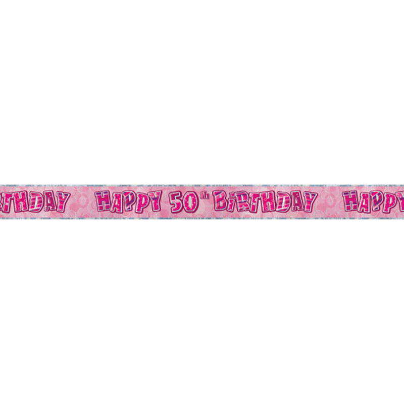 Pink banner Happy 50th Birthday