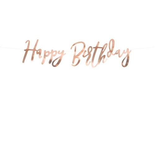 Banner Happy Birthday - rose gold