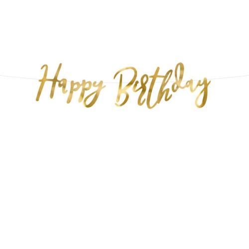 Banner Happy Birthday - gold