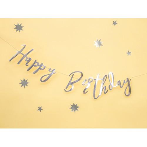 Banner Happy Birthday - silver