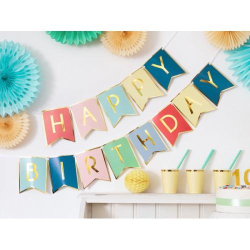Banner Happy Birthday - mix color