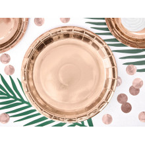 Rose gold paper plates 23 cm