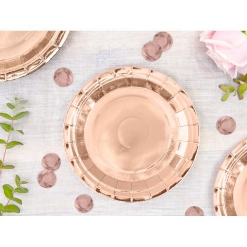 Rose gold paper plates 18 cm