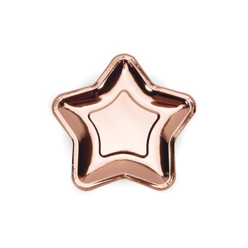 Rose gold paper plates - Star 18 cm