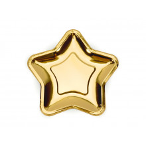 Gold paper plates - Star 18 cm