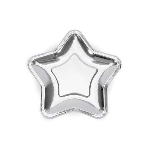 Silver paper plates - Star 18 cm