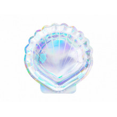 Iridescent paper plates - Seashell 18,5 cm