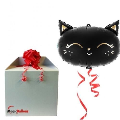 Schwarze Katze - Mattfolienballon in Paket