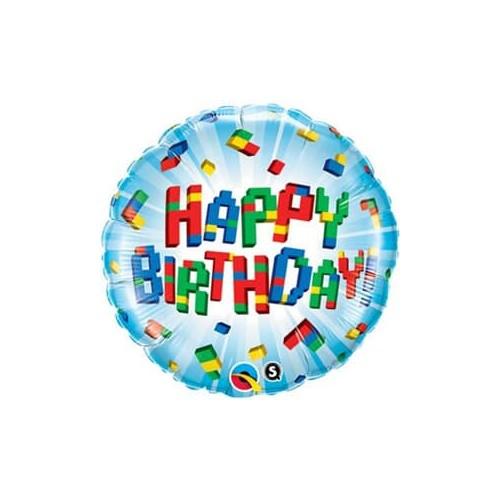 Birthday Exploding Blocks - foil balloon