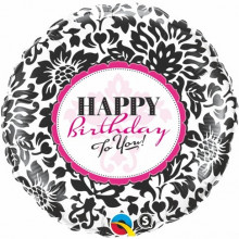 Birthday Elegant Damask - foil balloon in a package