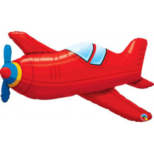 Red Vintage Airplane - foil balloon