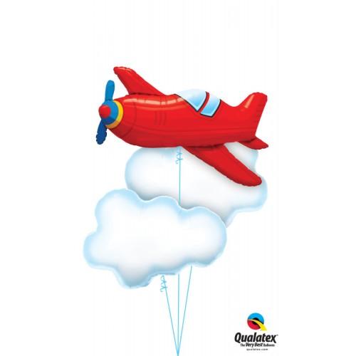 Rdeča letnik letalo - Folija balon