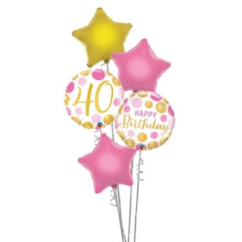 40 Pink&Gold Dots - foil balloon