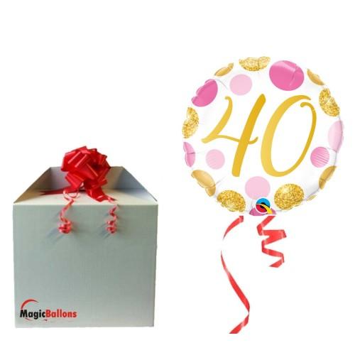 40 Pink&Gold Dots - folija balon