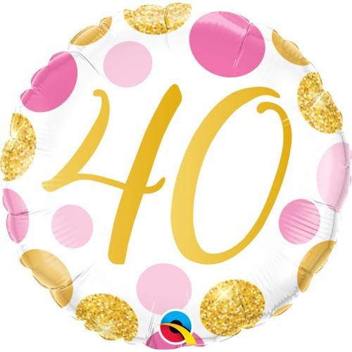 40 Pink&Gold Dots - Folienballon
