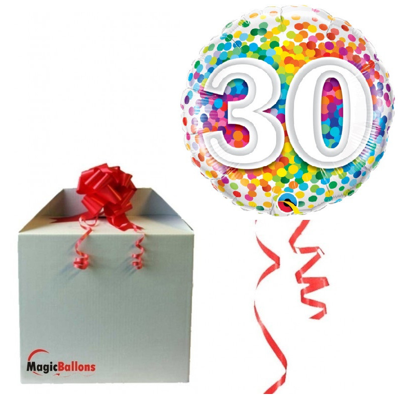 30 Rainbow Confetti - Folienballon in Paket