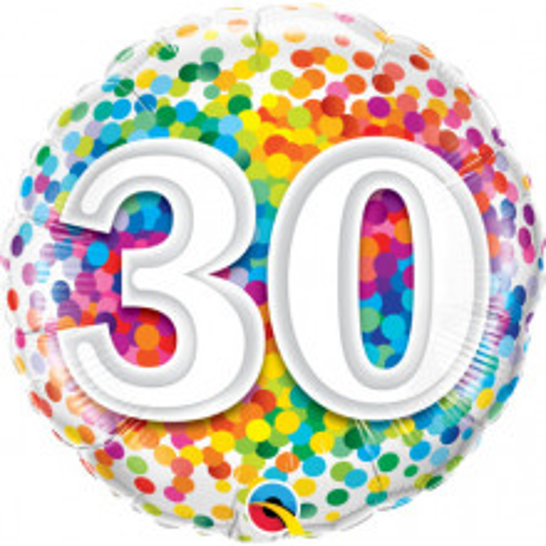 30 Rainbow Confetti - foil balloon