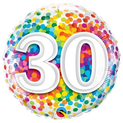 30 Rainbow Confetti - Folienballon