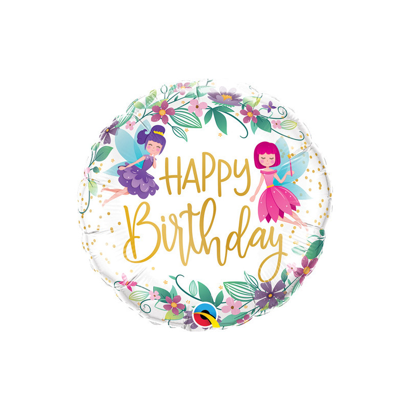 Happy Birthday Flower Fairies - foil balloon
