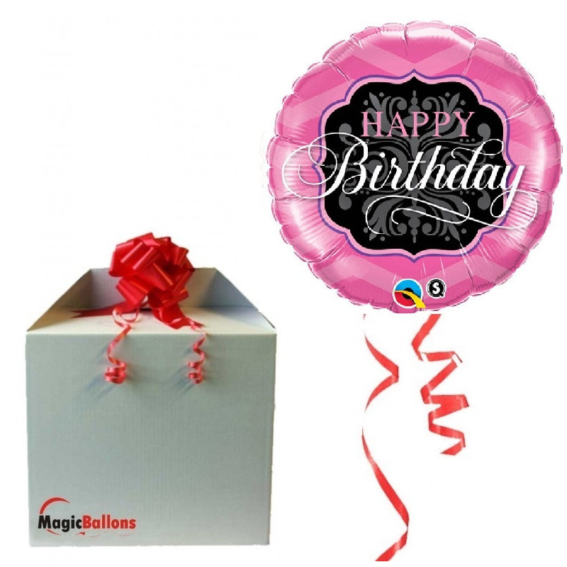 Happy Birthday Pink&Black - foil balloon in a package