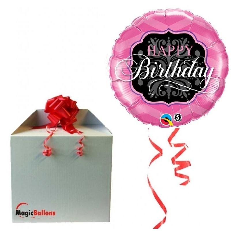 Happy Birthday Pink&Black - Folienballon