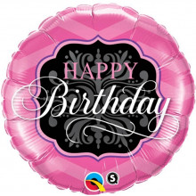 Happy Birthday Pink&Black - folija balon