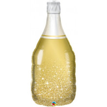Golden Bubbly Wine Bottle - foil balloon