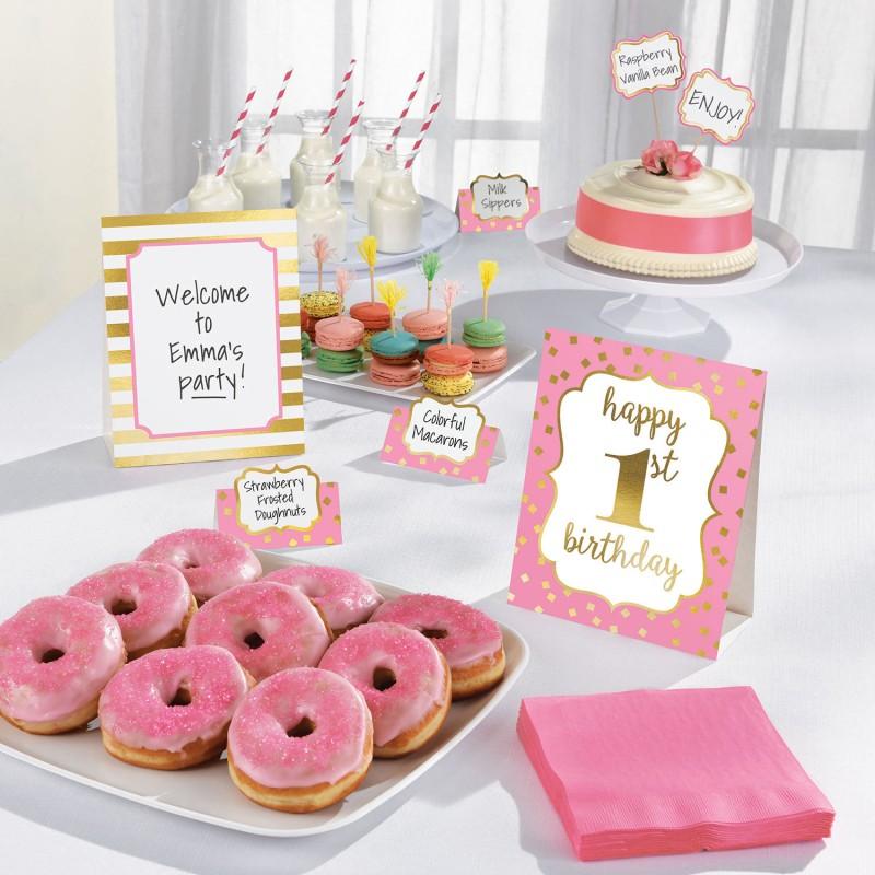 Set za buffet dekuraciju - Prvi rođendanski ružičasti party