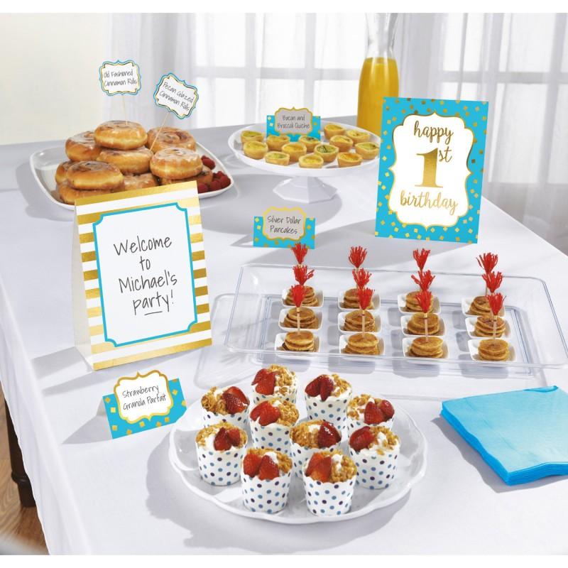 Buffet-Dekorationsset - Erster Geburtstag blau Party